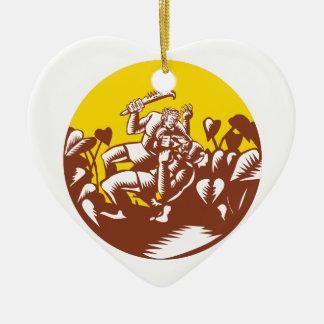 Ornamento De Cerâmica Losi que derrota o Woodcut do círculo do deus