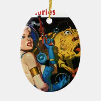 Ornamento De Cerâmica Louro da platina e seu amigo do monstro