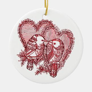 Ornamento De Cerâmica Lovebirds