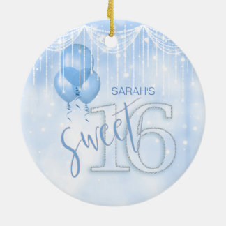 Ornamento De Cerâmica Lt do doce 16 das luzes & dos balões da corda.