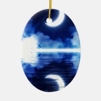 Ornamento De Cerâmica Lua crescente sobre o céu estrelado