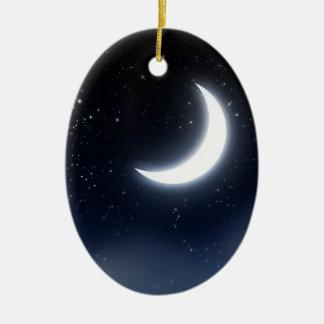 Ornamento De Cerâmica Lua crescente sobre Sky2 estrelado