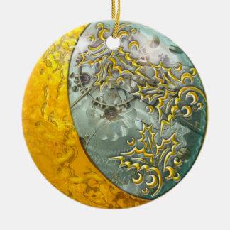 Ornamento De Cerâmica Lua crescente & Steampunk do ouro frente e verso