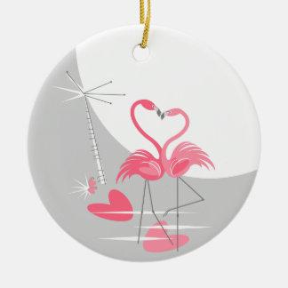 Ornamento De Cerâmica Lua do amor do flamingo a grande nomeia o