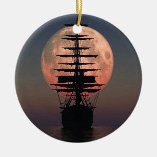 Ornamento De Cerâmica Lua do pirata da navigação