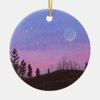 Ornamento De Cerâmica Lua e estrelas de Lansing