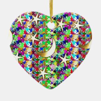 Ornamento De Cerâmica Lua e estrelas: Fundo elegante da noite estrelado