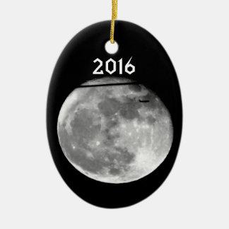 Ornamento De Cerâmica Lua super com a passagem do avião/customizável!