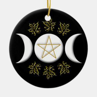 Ornamento De Cerâmica Lua tripla & Pentagram #1 novos