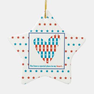Ornamento De Cerâmica Lugar patriótico no coração, incentivo do apoio