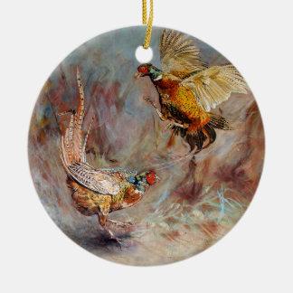 Ornamento De Cerâmica Luta masculina de dois faisão do anel-pescoço