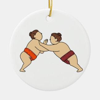 Ornamento De Cerâmica Lutador do Sumo de Rikishi que empurra a mono