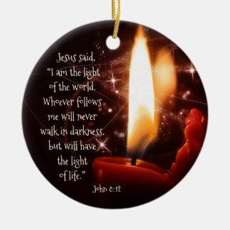 Ornamento De Cerâmica Luz de Jesus do salmo 8 do mundo, Natal feito sob