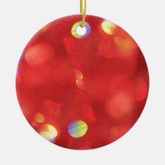 Ornamento De Cerâmica Luz de Natal Bokeh