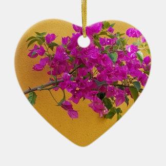 Ornamento De Cerâmica Luz do sol amarela do arco da flor do rosa da