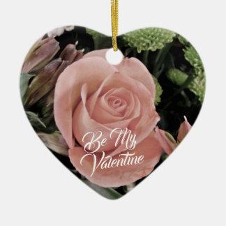 Ornamento De Cerâmica Luz romântica do dia dos namorados - rosa do rosa