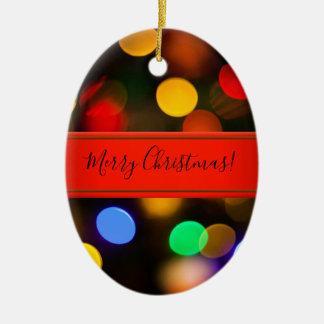 Ornamento De Cerâmica Luzes de Natal coloridos. Adicione o texto ou