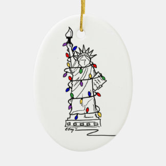 Ornamento De Cerâmica Luzes de Natal da liberdade da estátua da Nova