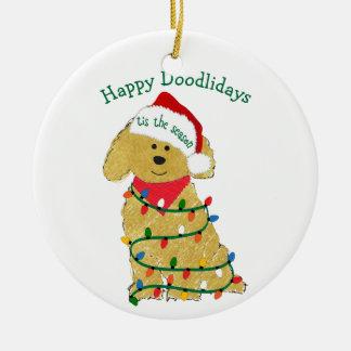 Ornamento De Cerâmica Luzes de Natal personalizadas Goldendoodle