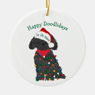 Ornamento De Cerâmica Luzes de Natal personalizadas Labradoodle