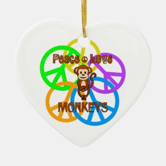 Ornamento De Cerâmica Macacos do amor da paz