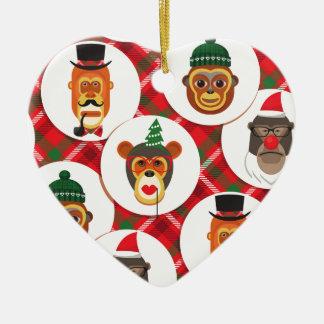 Ornamento De Cerâmica macacos do hipster do Natal
