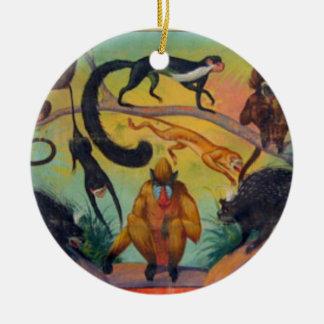 Ornamento De Cerâmica Macacos e porcos-