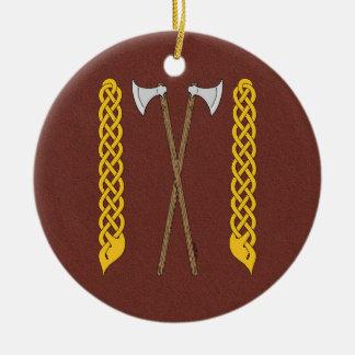 Ornamento De Cerâmica Machados dinamarqueses cruzados com Plaitwork