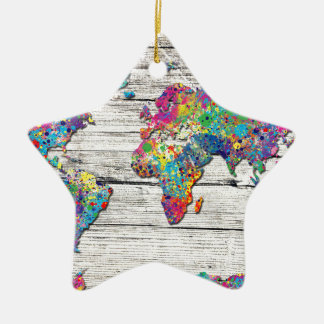 Ornamento De Cerâmica madeira do mapa do mundo
