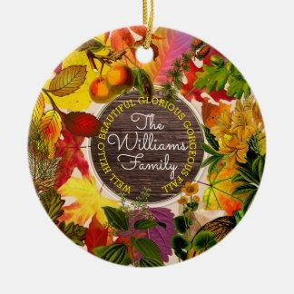 Ornamento De Cerâmica Madeira do vintage da colagem das folhas de outono
