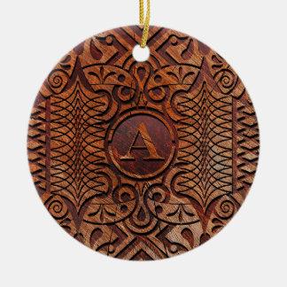 Ornamento De Cerâmica Madeira simulada que cinzela o A-Z ID446 do