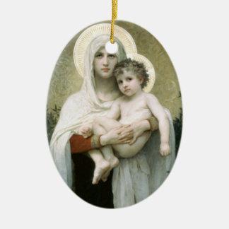 Ornamento De Cerâmica Madonna do Rev dos rosas