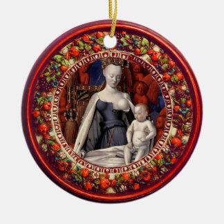 Ornamento De Cerâmica MADONNA, Natal floral vermelho da coroa de