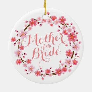 Ornamento De Cerâmica Mãe da flor de cerejeira da noiva que Wedding
