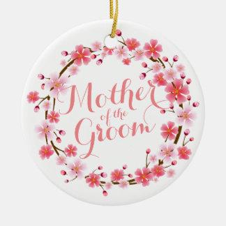 Ornamento De Cerâmica Mãe da flor de cerejeira do noivo que Wedding