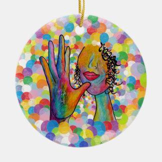 Ornamento De Cerâmica Mãe do ASL em um fundo da bolha