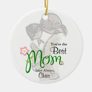 Ornamento De Cerâmica Mãe e criança com mamã floral & texto do costume