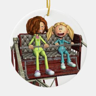 Ornamento De Cerâmica Mãe e filha dos desenhos animados em uma roda de