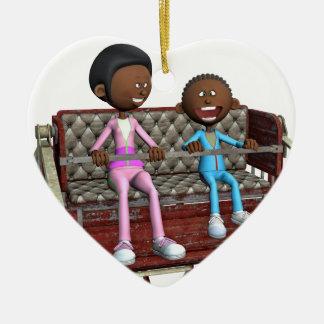 Ornamento De Cerâmica Mãe e filho dos desenhos animados em uma roda de