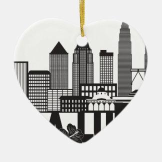 Ornamento De Cerâmica Mal preto e branco do texto da skyline da cidade