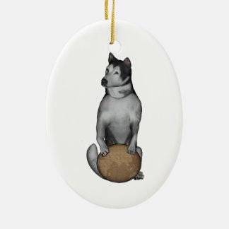 Ornamento De Cerâmica Malamute do Alasca do cão de Fu