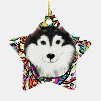 Ornamento De Cerâmica Malamute do Alasca do Natal