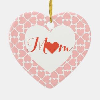 Ornamento De Cerâmica Mamã com corações do trevo da folha do rosa quatro