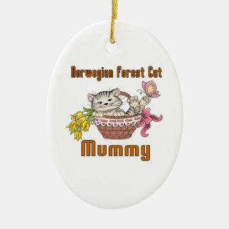 Ornamento De Cerâmica Mamã norueguesa do gato do gato da floresta