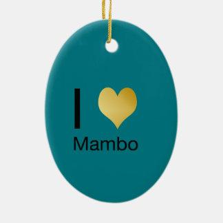 Ornamento De Cerâmica Mambo Playfully elegante do coração de I