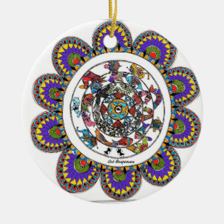 Ornamento De Cerâmica Mandal floral no estilo de Madhubani