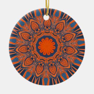 Ornamento De Cerâmica Mandala alaranjada dos azuis marinhos