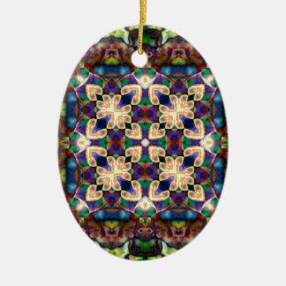 Ornamento De Cerâmica Mandala celta do vitral do coração do arco-íris