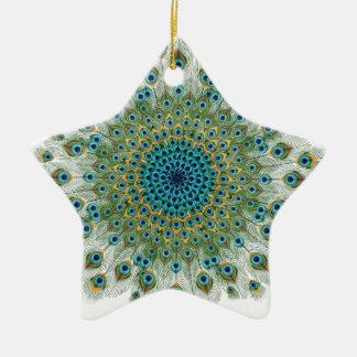Ornamento De Cerâmica Mandala colorida do pavão masculino