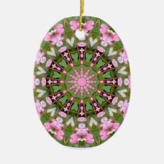 Ornamento De Cerâmica Mandala da flor, corações de sangramento 02.0_rd